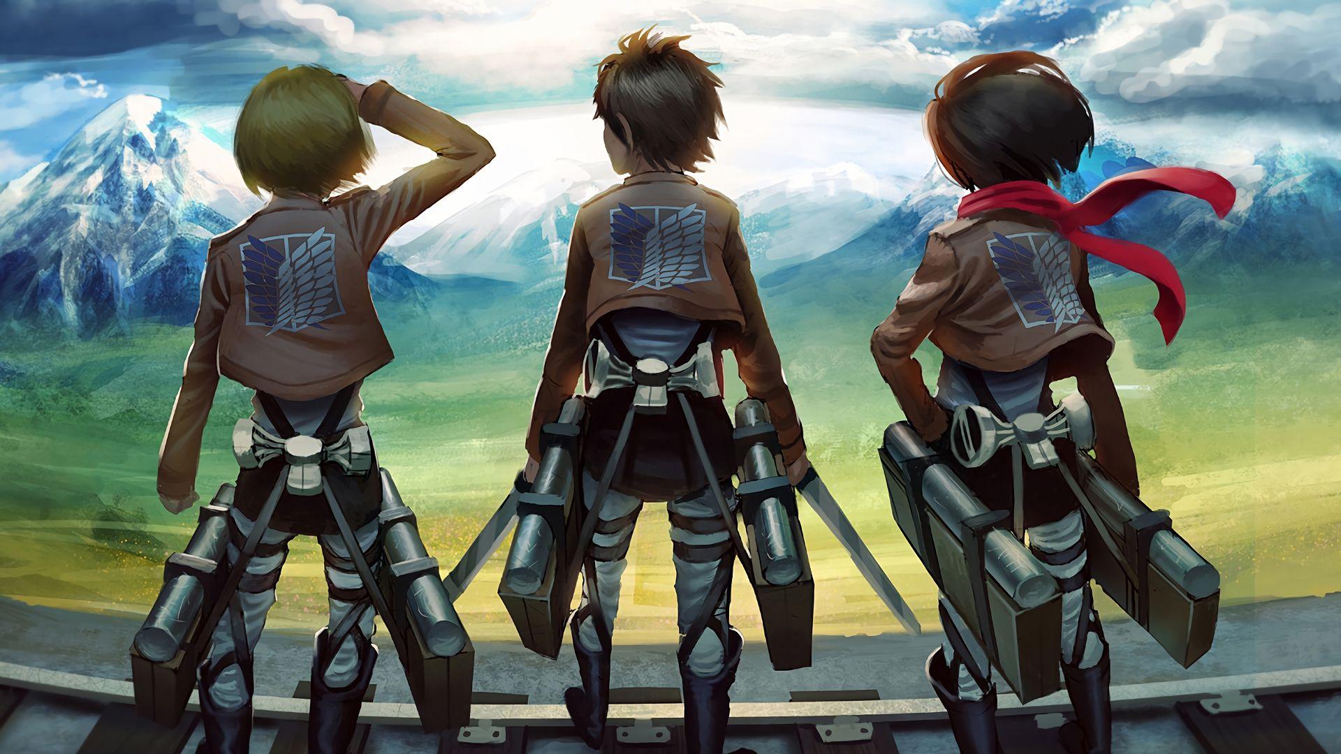 Armin Arlert Eren Yeager Mikasa Ackerman Attack On Titan Shingeki No Kyojin Anime Anime 1920x1080