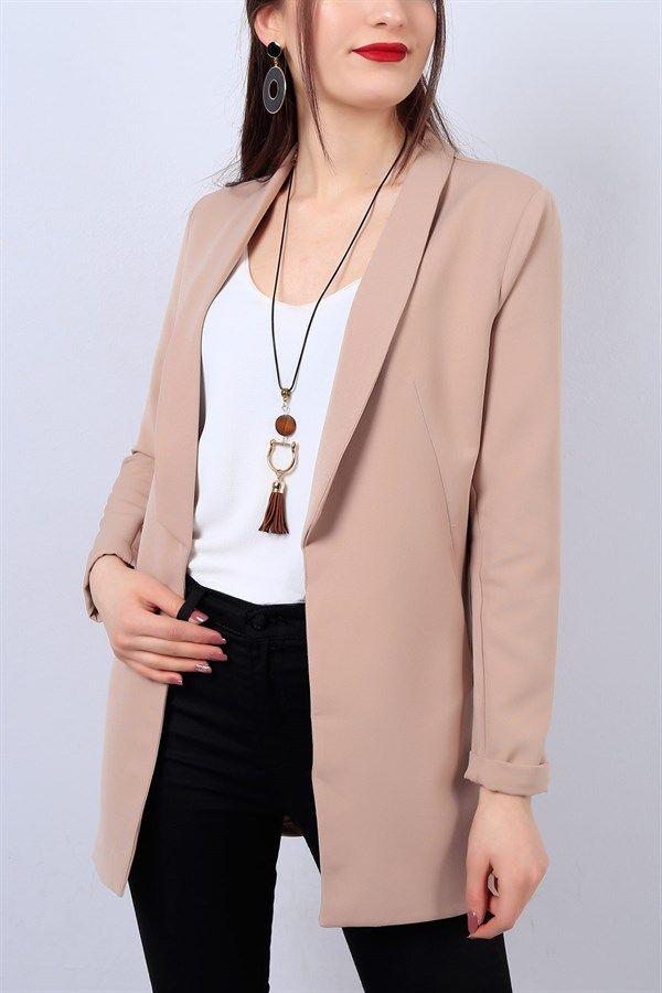 54 95 Tl Vizon Bayan Blazer Ceket 13599b Modamizbir Blazer Ceket Tarz Moda Moda Kombinleri