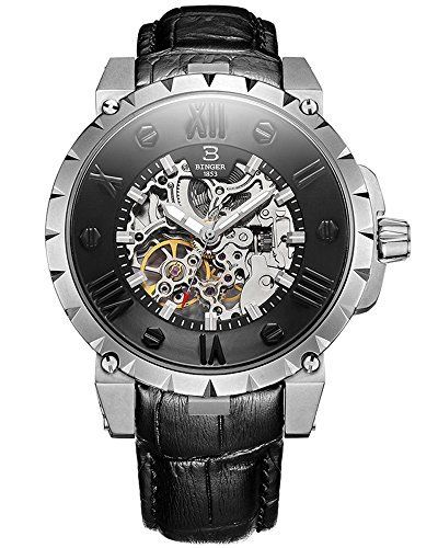 ca787b8d897 Binger Mens Automatic selfwind Mechanical Skeleton Waterproof Wrist Watch  with Leather Band -- To view further for this item