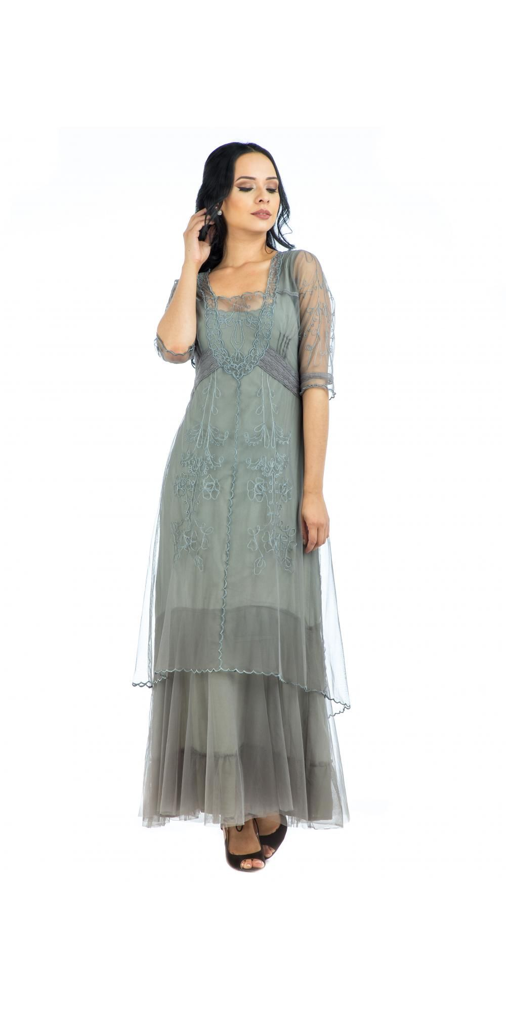 Nataya party dress in smoke was designed with various layers to