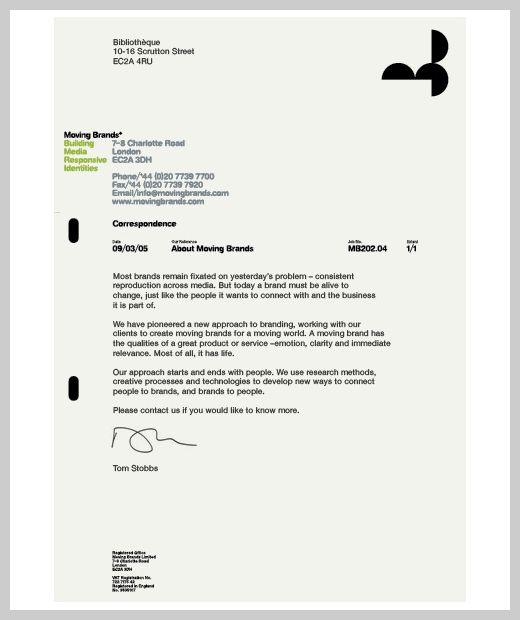 Company Letterhead Design - Moving Brands Personal Identity - business letterhead format