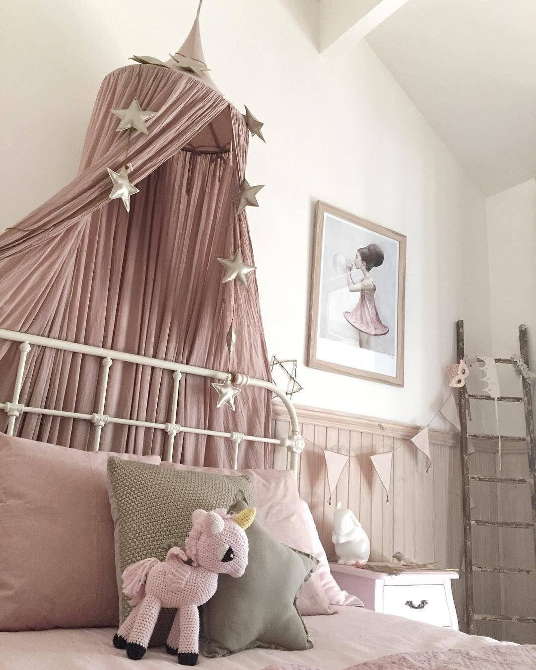 Dusty pink canopy & gold mini star garland | Kids room ...