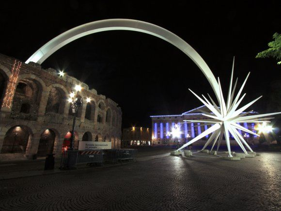 A giant star sculpture at the Verona Roman arena marks the holiday