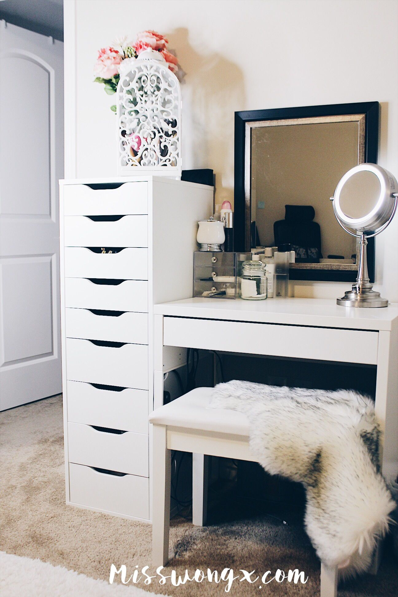 Tour of my vanity!  Small bedroom vanity, Room ideas bedroom