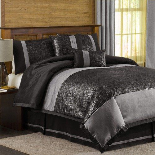 walmartcom lush decor metallic animal 6 piece comforter set in black silver