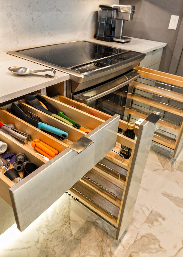Cajones organizadores de cocinas modernas dise os de for Disenos de cocinas integrales para espacios pequenos