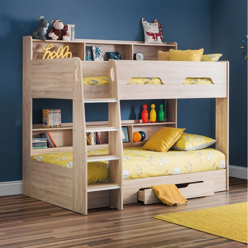 Kieran Single Bunk Bed With Drawers and Shelves in 2020