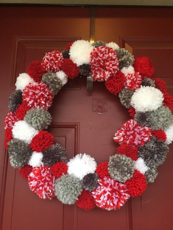 Items similar to Ohio State Buckeyes- PomPom Wreath on Etsy #ohiostatebuckeyes