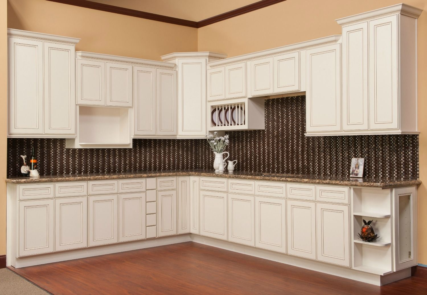 Antique White Glaze Ready Assemble Kitchen Cabinets Soft Wall Paint For  With Beside