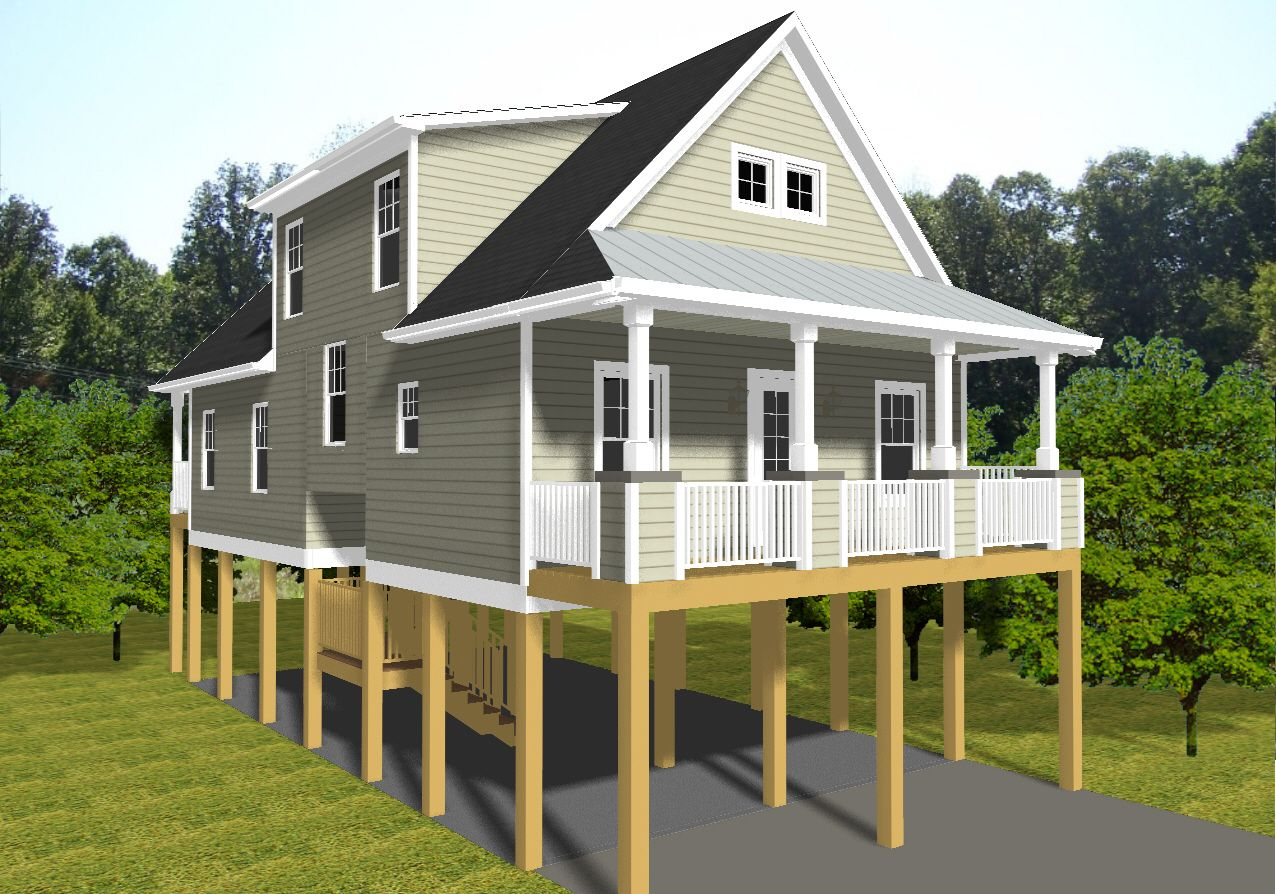 Modern Beach House Plans On Pilings With Small Cottage Porches Standard Piling Foundation
