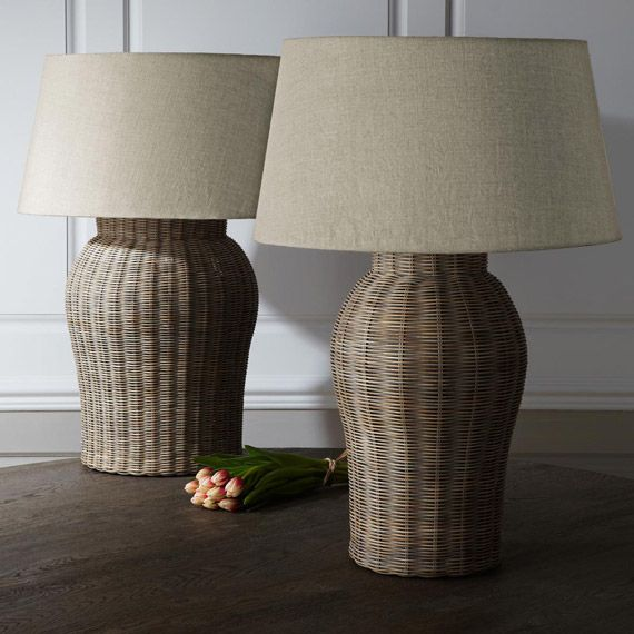 Large Rattan Table Lamp   Tanjore