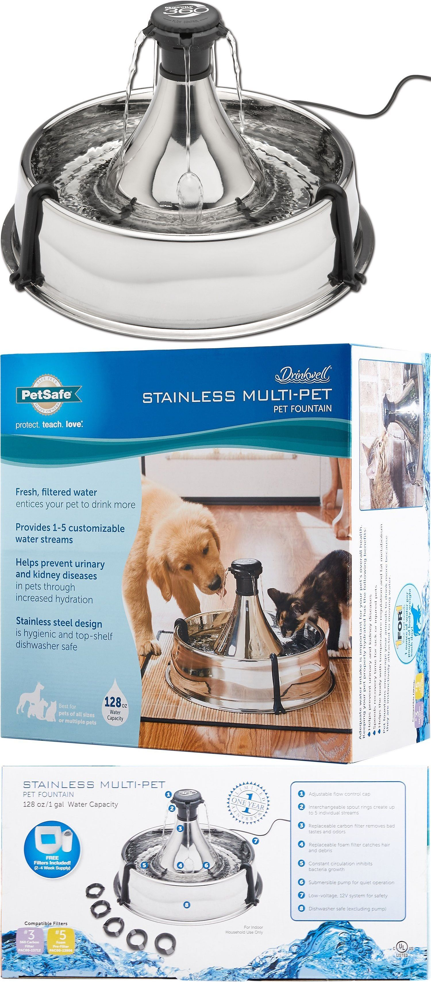 Dishes Feeders And Fountains 177789 Petsafe Drinkwell 360 Multi Pet Stainless Steel Fountain Pww00 13705 1 Gal Buy It No Pets Fountains