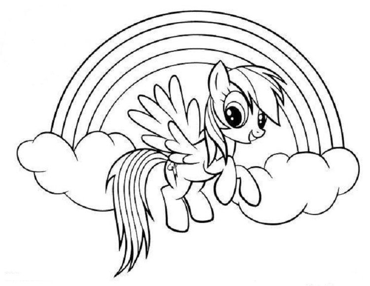 My Little Pony Coloring Pages Rainbow Dash Flying My Little Pony