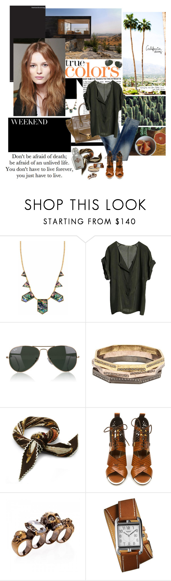 """""""Death Valley weekend"""" by shift ❤ liked on Polyvore featuring House of Harlow 1960, Garance Doré, CÉLINE, Diesel, Graumann, Ray-Ban, Paige Novick, Hermès, Proenza Schouler and Alexander McQueen"""