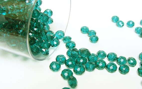 Crystal+Beads+Emerald+Green++Faceted+Rondelle+Beads+por+ColorSupply,+$2.00
