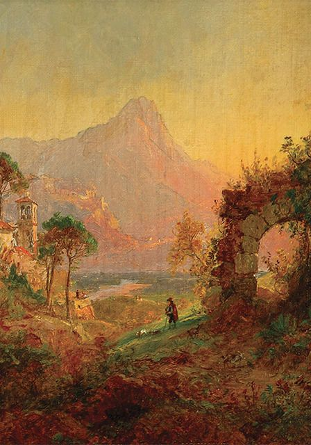 Available for sale from MME Fine Art, Jasper Francis Cropsey, Villa d'Este Tivoli (1877), Oil on canvas, 10 1/8 × 8 in