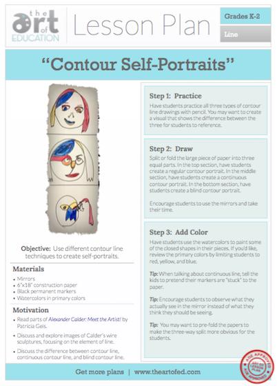 Contour Line Drawing Lesson Plan Middle School : Contour self portraits free lesson plan download the art