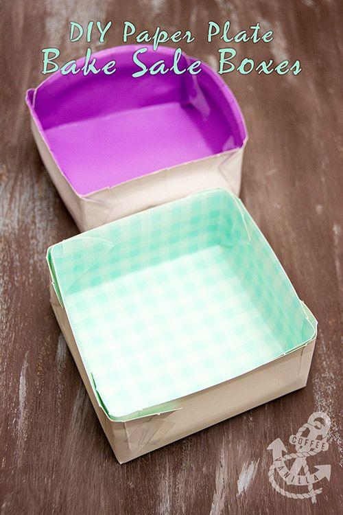 DIY Paper Plate Bake Sale Boxes #bakesaleideas