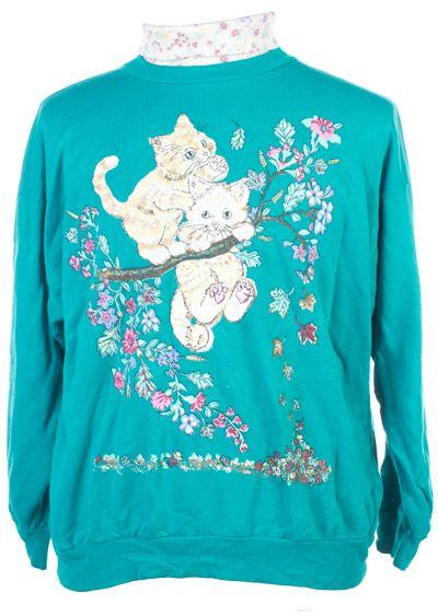 Vintage 80s Cat print Sweatshirt Jungle Scats By Hilarie.G Retro Crazy Catlady Shirt Ugly Sweater Hippie