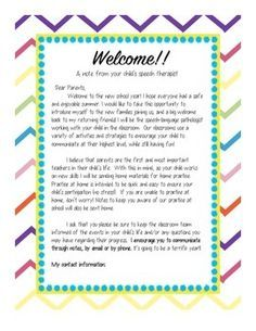 Speech Therapy Welcome Letter for Parents | w | Letter to