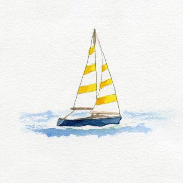 Sailing Illustration Jaune Mer Aquarelle Aquarelle Facile