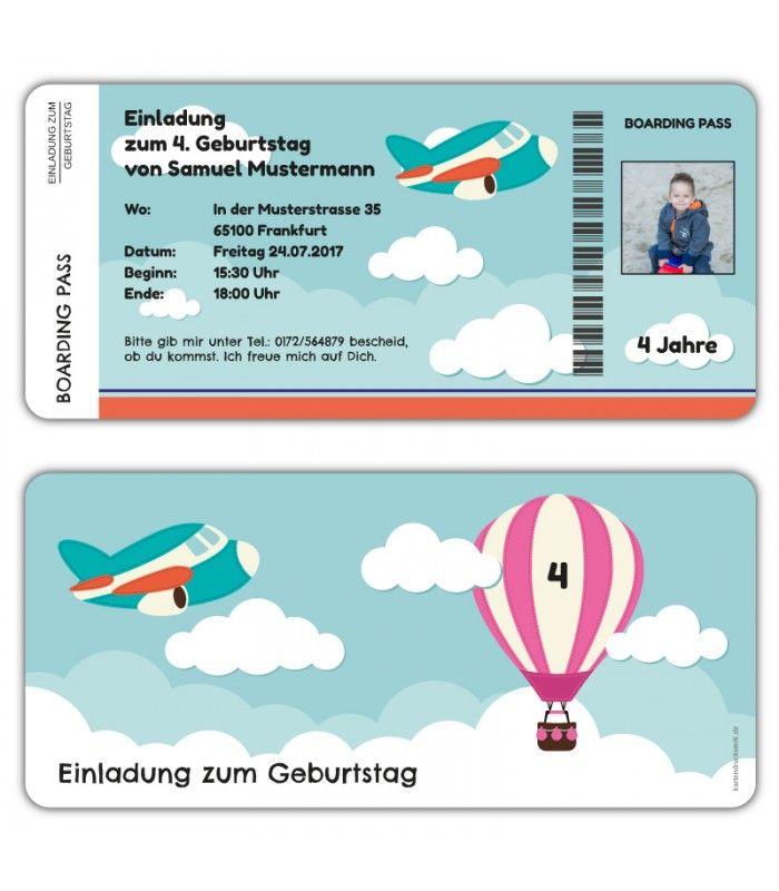 Einladungskarten-Kindergeburtstag-als-Flugticket-Boarding-Pass-mit ...
