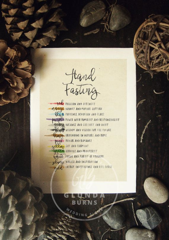 Printable Wedding Programs Hand Fasting Rope Ceremony Color Meanings Watercolor Paper Products Digital