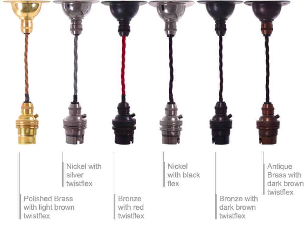 Retro Vintage Braided Twist Flex 1m Pendant Light Set Many Colours And Materials Available