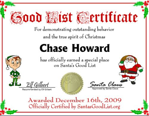 Santa nice list certificates in addition to the new santas good santa nice list certificates in addition to the new santas good list certificates instaletter spiritdancerdesigns Image collections