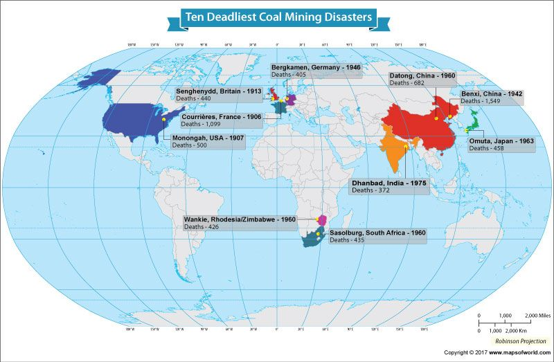 Coal World Map.What Are The Top Ten Coal Mining Disasters In The World World