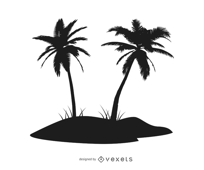 Nice Piece Of Palm Tree Island Includes A Couple Of Palm Or Coconut Trees On A Small Hillock In Black Silho Palm Tree Island Palm Trees Silhouette Illustration