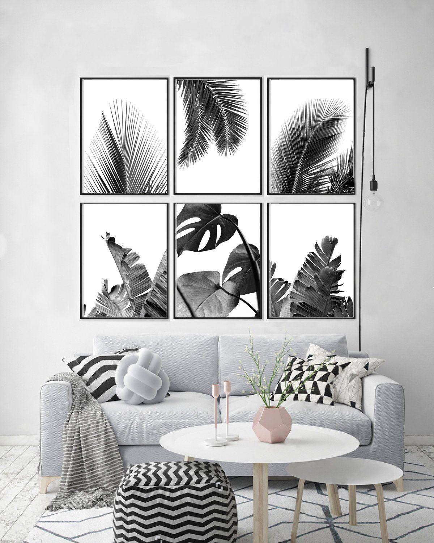 Black and white wall art scandinavian modern art tropical botanical prints set minimalist wall art large