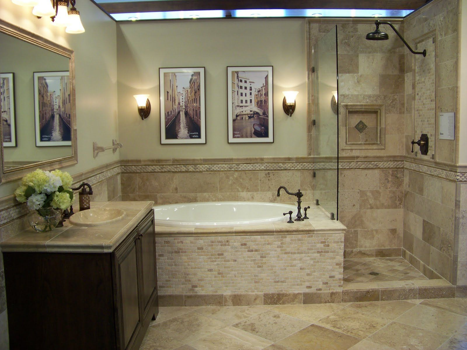 The Awesome Web Travertine Bathroom Floor Tile Designs mixture of travertine tiles gives this bathroom an earthy natural