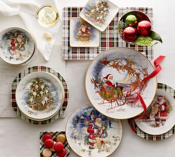 Nostalgic Tree Salad Plate Set Of 4 Christmas Dinnerware Christmas Plates Christmas Dishes