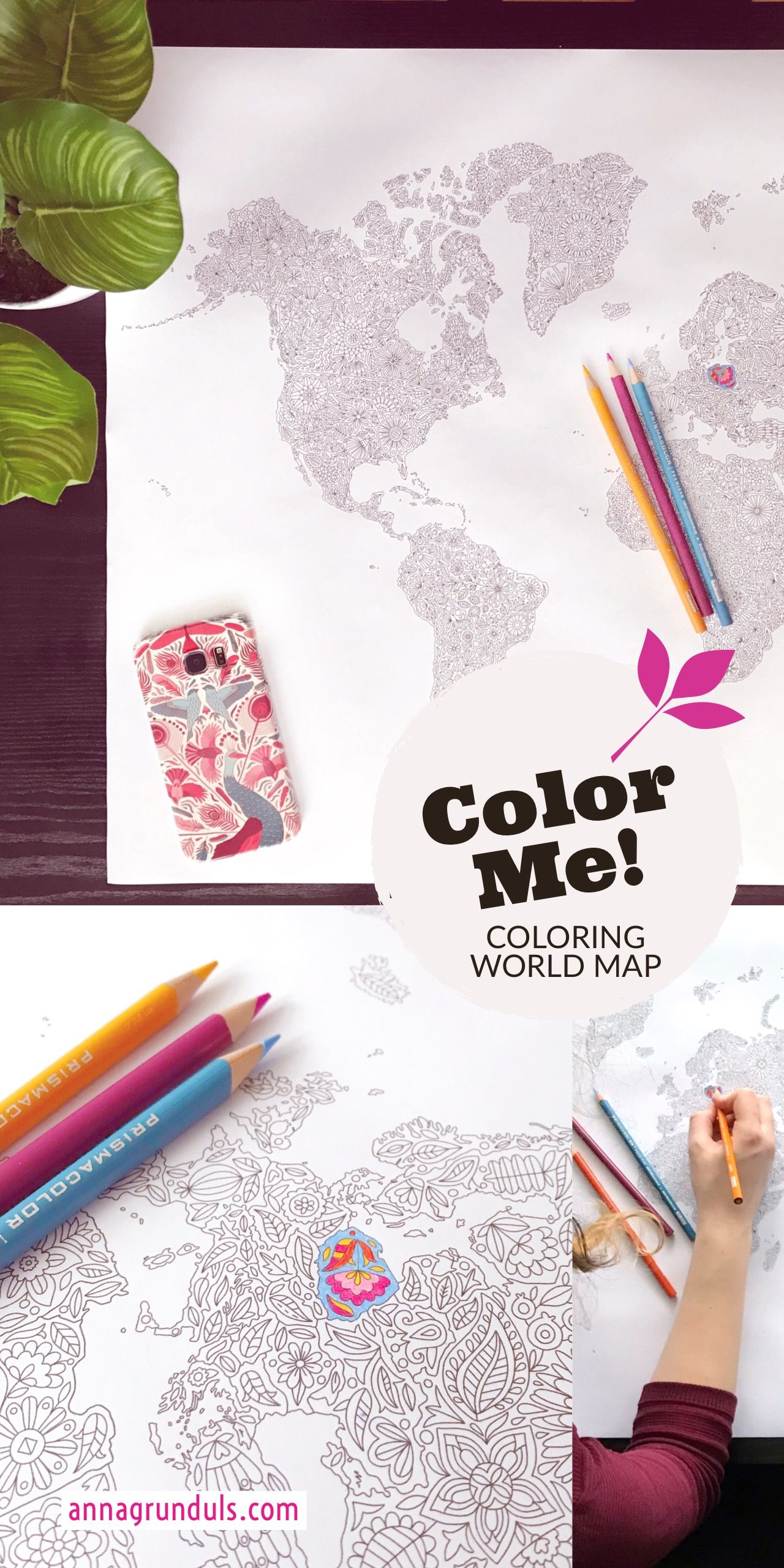 Flowers World Map Coloring Poster World Map Poster Adult