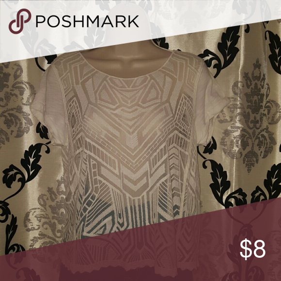 Express Sheer Tribal Print Top White With Tribal Embroidery Express