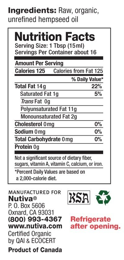 Www Nutiva Com Organic Cold Pressed Hemp Oil Nutritional Facts Nutrition Nutrition Facts Organic Coconut Oil