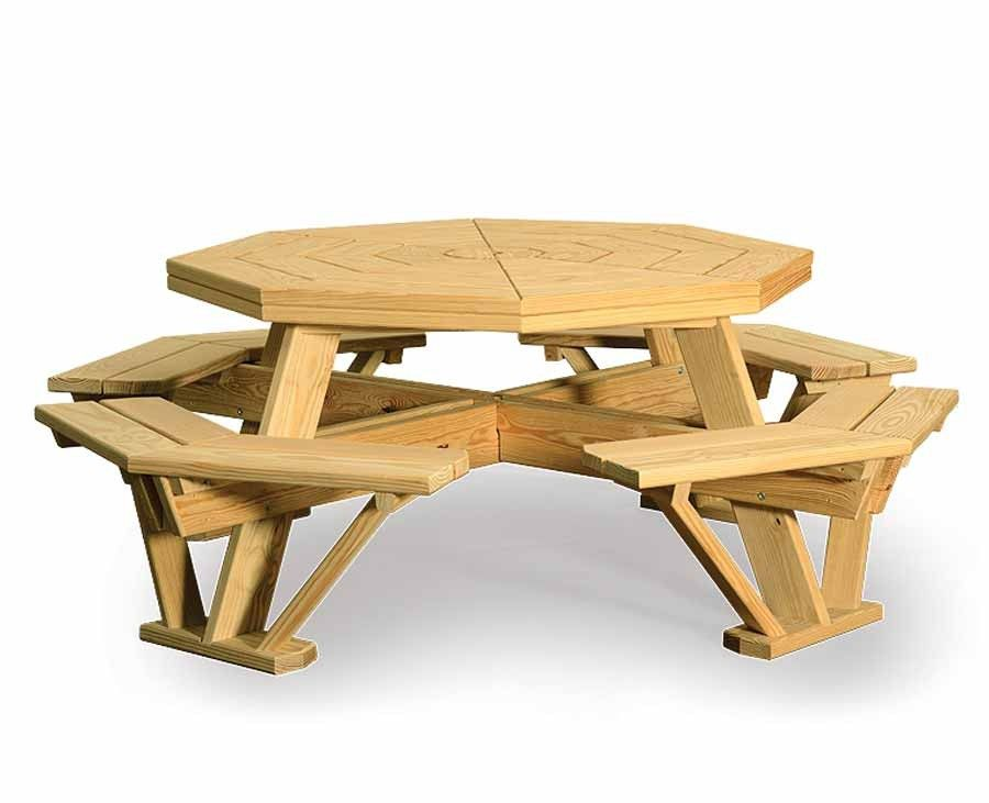 Amish 52 Quot Pine Octagon Picnic Table With Attached Benches