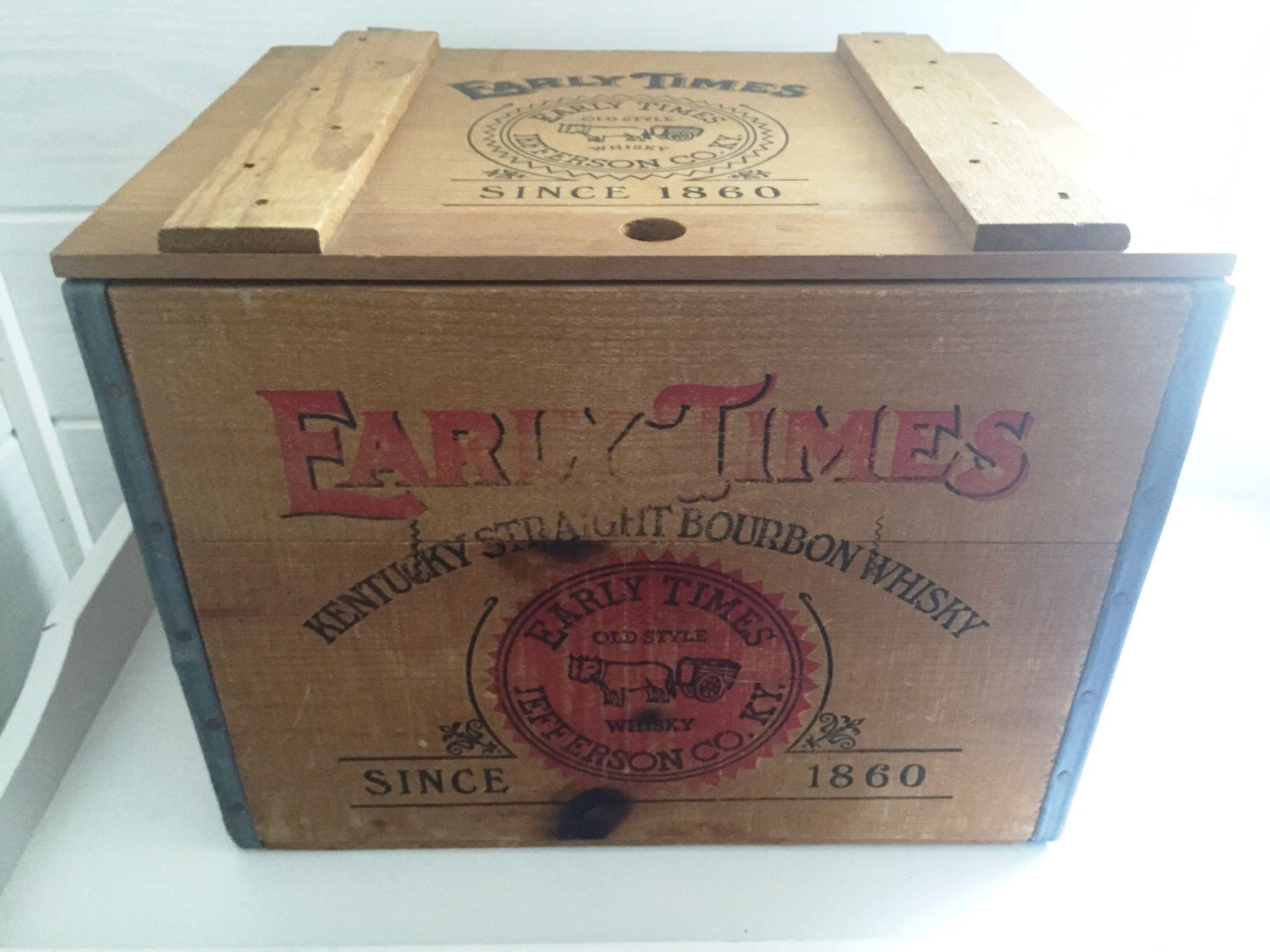 Early Times Whiskey Crate with Lid - Vintage   Etsy