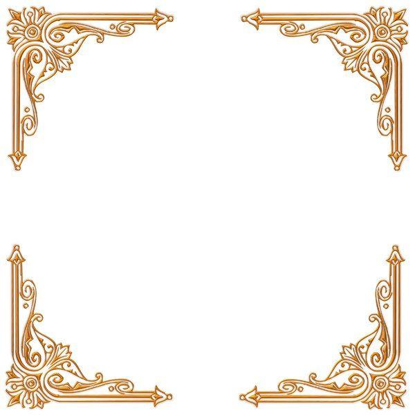 Golden Ornate Border 18: A golden ornate border or frame on a plain ...