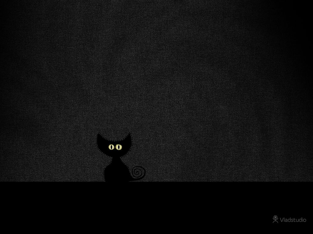 Black Cat In Dark Room Wallpaper Black Cat Illustration Cat Illustration Cat Wallpaper