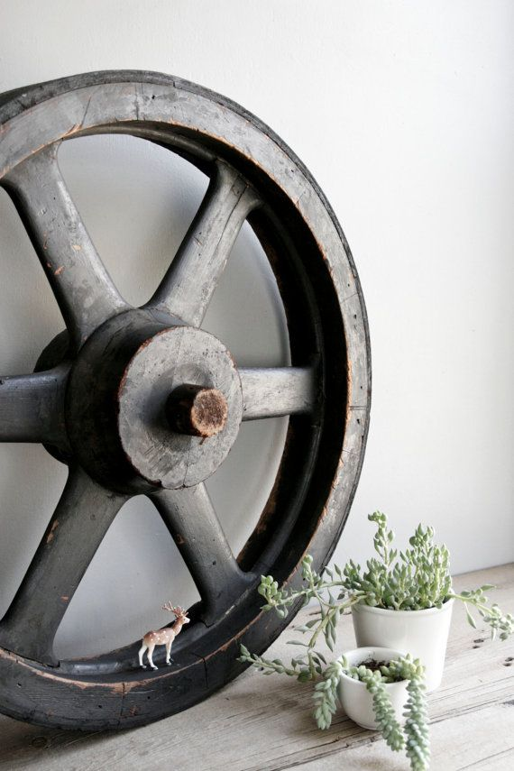 I WANT ONE . . . huge factory pulley wheel / machine age industrial by ohalbatross, $245.00