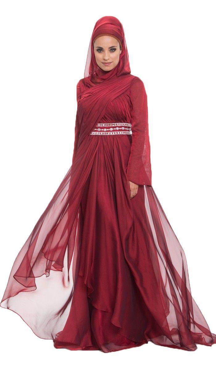 Michel Silk Chiffon Burgndy Islamic Formal Dress Artizara Com