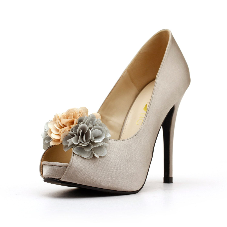 3D Flower Silver Heels. Flowery Wedding Heels. Silver