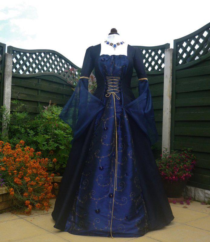 MEDIEVAL GOTH OPEN SLEEVE BLUE TAFFETA DRESS | the yard | Pinterest ...