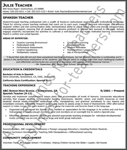 spanish teacher resume resume badak  teacher resume