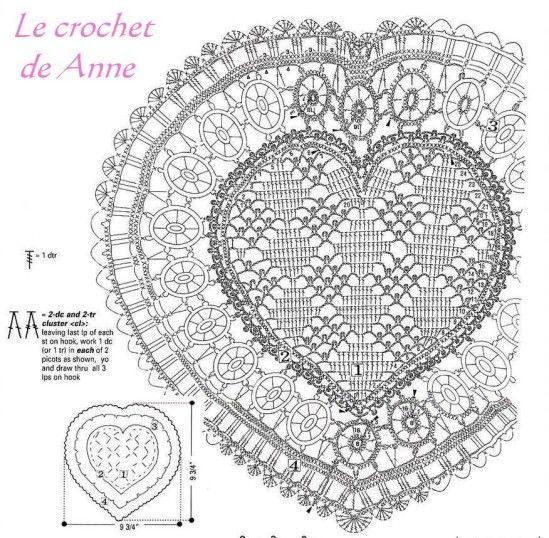 Napperons coeur maison en crochet crochet et nappe crochet - Napperon crochet grille gratuite ...