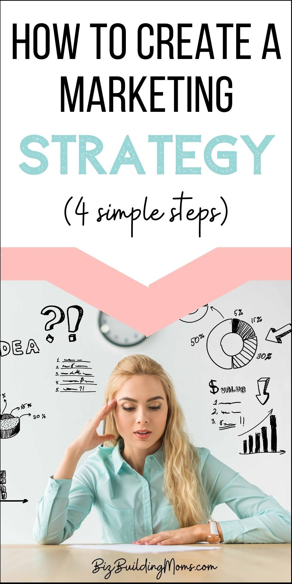 Creating A Marketing Strategy - Tips To Build Your Own | A marketing strategy means coming up with ideas for your business to promote to your target audience. This can include social media, content, email, or any number of other creative ideas. With a former career in business management & marketing, let me help you walk through the steps to build your marketing strategy. #marketing #marketingtips #marketingonline #marketingideas #startabusiness #startablog