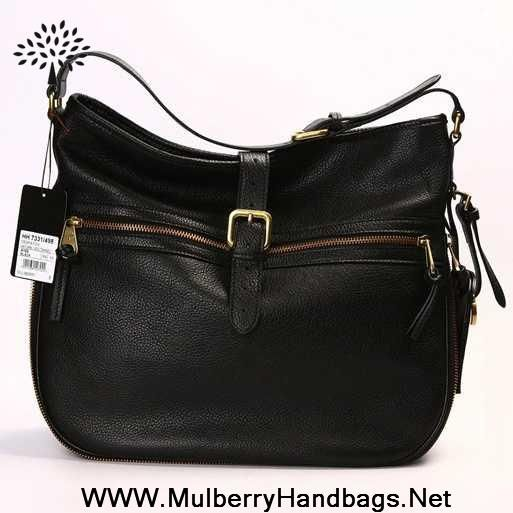 fb4189c6dcab New Womens Mulberry Mabel Leather Hobo Bag Black On Sale