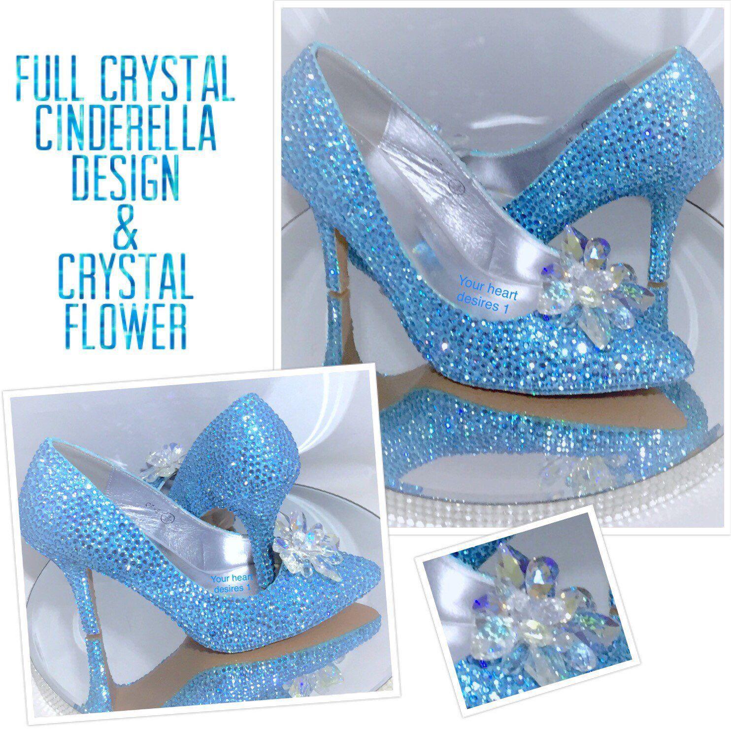 Swarovski style shoes blue Cinderella pumps wedding bridal